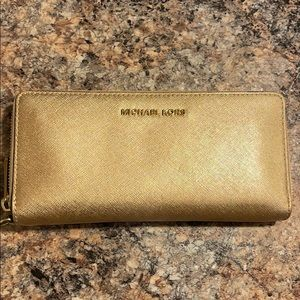 New (Used) Gold Michael Kors Continental Wallet